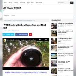 HVAC Spiders Snakes Capacitors and Nest Test