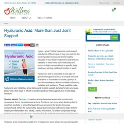 Hyaluronic Acid: More than Just Joint Support