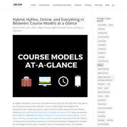 Hybrid, HyFlex, Online, and Everything in Between: Course Models at a Glance