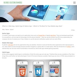 What Is A Web App, Hybrid App Or Native App – Which Is The Best For Your Mobile App Idea? - Business on Mobile