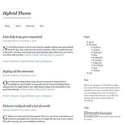 Hybrid Theme: A WordPress theme framework
