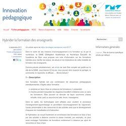 Hybrider la formation des enseignants - Innovation Pédagogique