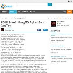 SIBM Hyderabad - Making MBA Aspirants Dream Come True