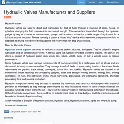 Hydraulic Valves Manufacturers and Suppliers