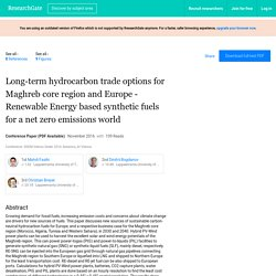 Long-term hydrocarbon trade options for Maghreb core region and Europe - Renewable Energy based synthetic fuels for a net zero emissions world
