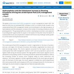 Hydrocephalus and the Subsequent Increase in Shunting Procedures driving the cerebrospinal fluid (CSF) management market: Medical Press Releases