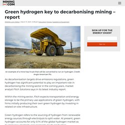 Green hydrogen key to decarbonising mining – report