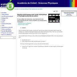 Académie de Créteil - Sciences Physiques - Réaction acido-basique entre l'acide chlorhydrique et l'hydrogénocarbonate de sodium