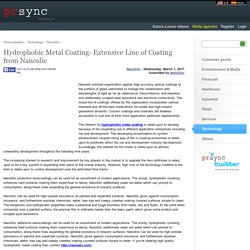 Hydrophobic Metal Coating- Extensive Line of Coating from Nanoslic