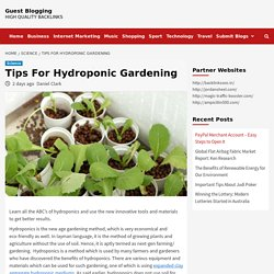 Tips For Hydroponic Gardening