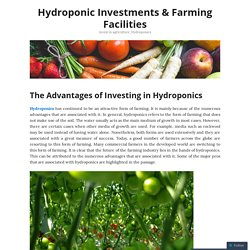 Hydroponic Investments & Farming Facilities