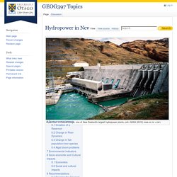 Hydropower in New Zealand - GEOG397 Topics