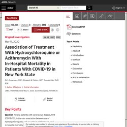 JAMA 11/05/20 Association of Treatment With Hydroxychloroquine or Azithromycin With In-Hospital Mortality in Patients With COVID-19 in New York State