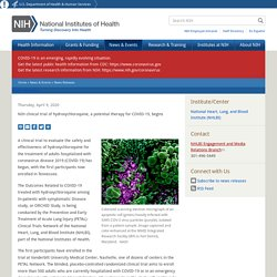 NIH clinical trial of hydroxychloroquine ORCHID begins