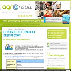 AGRO CONSULT point info hygiene alimentaire : le plan de nettoyage et desinfection