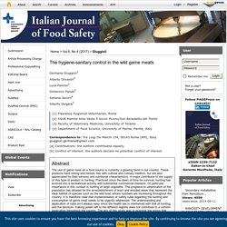 ITALIAN JOURNAL OF FOOD SAFETY - 2017 - The hygiene-sanitary control in the wild game meats