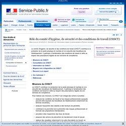 Rôle du comité d'hygiène, de sécurité et des conditions de travail (CHSCT)