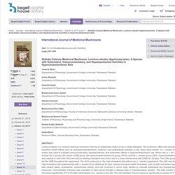 hepatoprotective, hypercholesterolemia, immunomodulatory, <i>Lentinus edodes</i>, medicinal mushrooms, oxidative stress - Begell House Digital Library