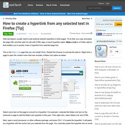 How to create a hyperlink from any selected text in Firefox
