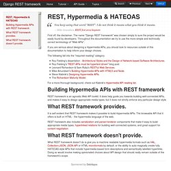 REST, Hypermedia & HATEOAS - Django REST framework