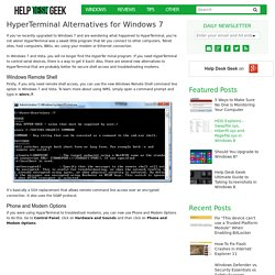 HyperTerminal Alternatives for Windows 7