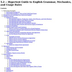 Hypertext Guide to English Grammar, Mechanics, and Usage Rules