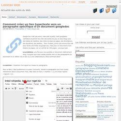 Comment créer un lien hypertexte vers un paragraphe spécifique d'un document googledoc