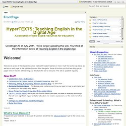 HyperTEXTS: Teaching English in the Digtial Age [licensed for non-commercial use only] / FrontPage