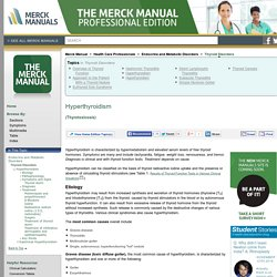 Hyperthyroidism: Thyroid Disorders: Merck Manual Professional