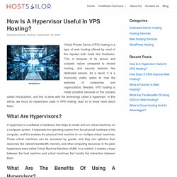 How Is A Hypervisor Useful In VPS Hosting? - HostSailor Services