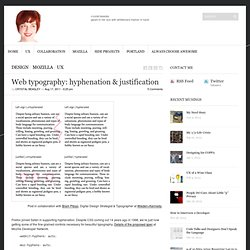 Web typography: hyphenation & justification - skinnywhitegirl - skinnywhitegirl