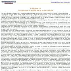 Chapitre IV Conditions et effets de la médiumnité
