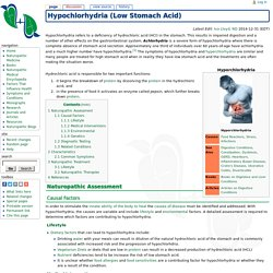 Hypochlorhydria (Low Stomach Acid) - NDHealthFacts - Health Facts