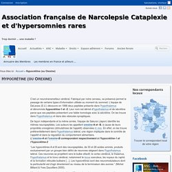 Hypocrétine (ou Orexine) - anc-narcolepsie
