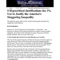 5 Hypocritical Justifications the 1% Use to Justify the America's Staggering Inequality