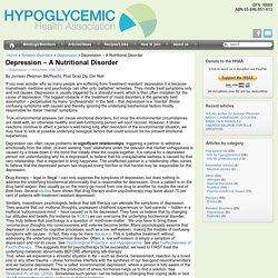 Hypoglycemic Health Association of Australia - Depression – A Nutritional Disorder