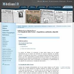 «Le Canada de Jules Verne»: hypothèses, méthodes, objectifs