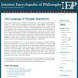 Language of Thought Hypothesis [Internet Encyclopedia of Philosophy]