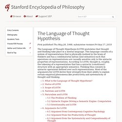 The Language of Thought Hypothesis (Stanford Encyclopedia of Philosophy)