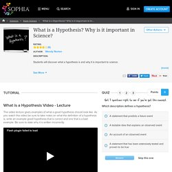 What is a Hypothesis? Why is it important in Science? Tutorial