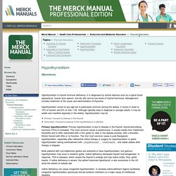 Hypothyroidism: Thyroid Disorders: Merck Manual Professional