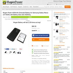 [HLI-i9250XL] Buy Mugen Power 4000mAh Extended Battery for Samsung Galaxy Nexus (GT-i9250) with Battery Door