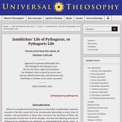 Iamblichus' Life of Pythagoras, or Pythagoric Life