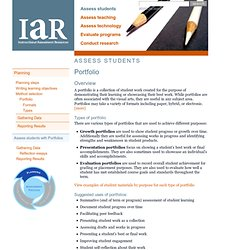 IAR: Assess students > Portfolio