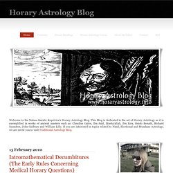 Horary Astrology Blog: Iatromathematical Decumbitures (The Early Rules Concerning Medical Horary Questions)