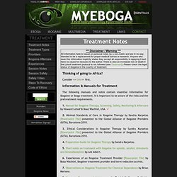 Ibogaine & Eboga Treatment Notes