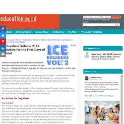 Education World: Icebreakers Volume 2: What to Do the First Day