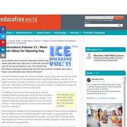 Education World: Icebreakers: Volume 11