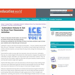 Education World: Icebreakers Volume 6: Getting-to-Know-Your-Classmates Activities