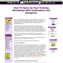 Icebreakers and energizers for your training workshops